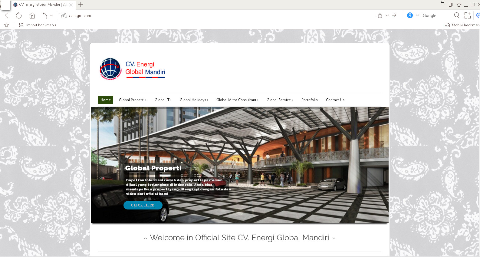 Website company profile cv. energi global mandiri